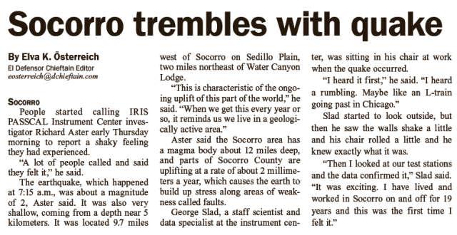 news article earthquakes