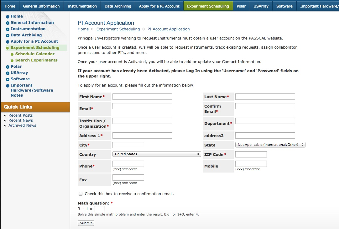 If You Need To Create A New Account, Visit This Page To Submit The  Application Form For A New User Account At PASSCAL. The Form Looks Like  This Initially: