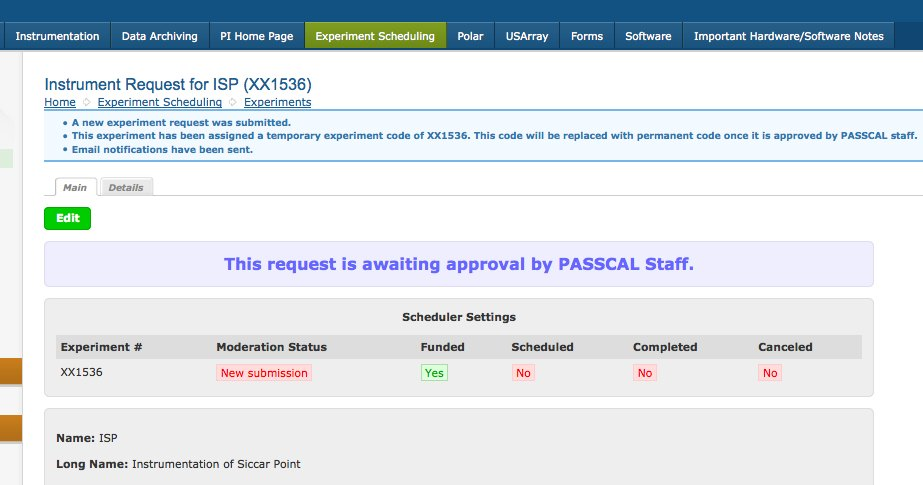 Tutorial On Passcal'S New Instrument Request Form And Pi Home Page